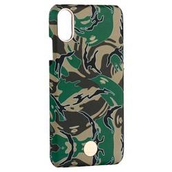 "Чехол-накладка KINGXBAR для iPhone XS/ X (5.8"") пластик со стразами Swarovski (Зеленый камуфляж)"