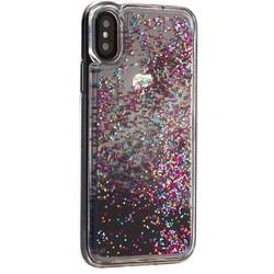 """Чехол-накладка для iPhone XS/ X (5.8"""") силиконовый с черными плавающими блестками Прозрачный"""