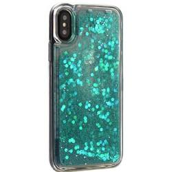 """Чехол-накладка для iPhone XS/ X (5.8"""") силиконовый с бирюзовыми плавающими блестками Прозрачный"""