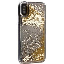 """Чехол-накладка для iPhone XS/ X (5.8"""") силиконовый с золотыми плавающими блестками Прозрачный"""