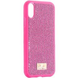 """Чехол-накладка силиконовая со стразами SWAROVSKI Crystalline для iPhone XR (6.1"""") Розовый"""