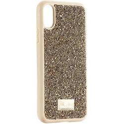 """Чехол-накладка силиконовая со стразами SWAROVSKI Crystalline для iPhone XS/ X (5.8"""") Оливковый №2"""