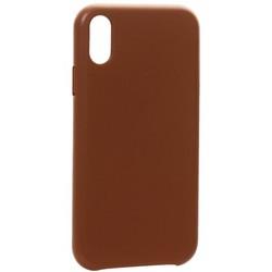 """Чехол-накладка кожаная Leather Case для iPhone XR (6.1"""") Saddle Brown Светло-коричневый"""