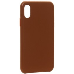 "Чехол-накладка кожаная Leather Case для iPhone XS/ X (5.8"") Saddle Brown Светло-коричневый"