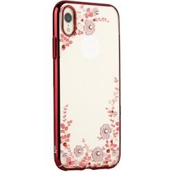 "Чехол-накладка KINGXBAR для iPhone XR (6.1"") пластик со стразами Swarovski 49F (розовые цветы) красный"