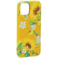 """Чехол-накладка силикон Luxo для iPhone 11 Pro (5.8"""") 0.8мм с флуоресцентным рисунком Цветы Желтый"""
