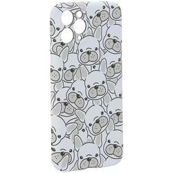 """Чехол-накладка силикон Luxo для iPhone 11 Pro (5.8"""") 0.8мм с флуоресцентным рисунком Бульдоги Белый"""