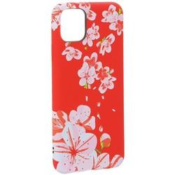 """Чехол-накладка силикон Luxo для iPhone 11 Pro Max (6.5"""") 0.8мм с флуоресцентным рисунком Цветы Розовый"""