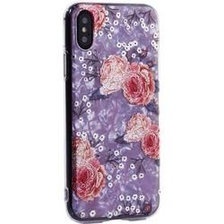 """Чехол-накладка пластиковый Fashion Case для iPhone XS/ X (5.8"""") с силиконовыми бортами Розовый вид №3"""