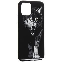 """Чехол-накладка силикон Luxo для iPhone 11 Pro (5.8"""") 0.8мм с флуоресцентным рисунком Волк Черный"""