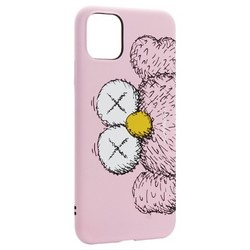 "Чехол-накладка силикон Luxo для iPhone 11 Pro Max (6.5"") 0.8мм с флуоресцентным рисунком KAWS Розовый KS-27"