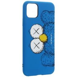 """Чехол-накладка силикон Luxo для iPhone 11 Pro Max (6.5"""") 0.8мм с флуоресцентным рисунком KAWS Синий KS-26"""