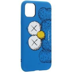 "Чехол-накладка силикон Luxo для iPhone 11 (6.1"") 0.8мм с флуоресцентным рисунком KAWS Синий"