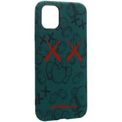 """Чехол-накладка силикон Luxo для iPhone 11 (6.1"""") 0.8мм с флуоресцентным рисунком KAWS Зеленый №1"""