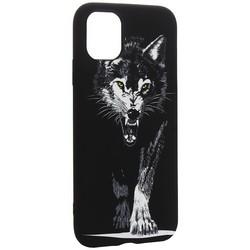 """Чехол-накладка силикон Luxo для iPhone 11 (6.1"""") 0.8мм с флуоресцентным рисунком Волк Черный"""