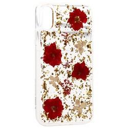 "Чехол-накладка силиконовая K-Doo Flowers TPU+Dried Flowers+Lucite для Iphone XS/ X (5.8"") Красная"
