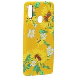 Чехол-накладка силикон Luxo для Samsung A20S 0.8мм с флуоресцентным рисунком Цветы Желтый