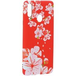 Чехол-накладка силикон Luxo для Samsung A20S 0.8мм с флуоресцентным рисунком Цветы Розовый