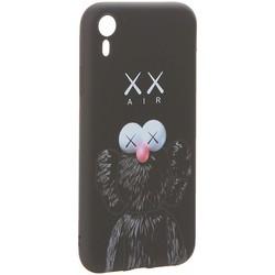 """Чехол-накладка силикон Luxo для iPhone XR (6.1"""") 0.8мм с флуоресцентным рисунком KAWS Черный"""