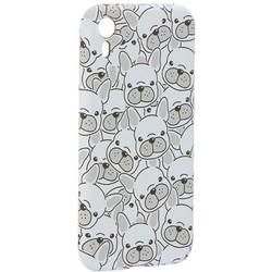 """Чехол-накладка силикон Luxo для iPhone XR (6.1"""") 0.8мм с флуоресцентным рисунком Бульдоги Белый"""