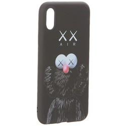 "Чехол-накладка силикон Luxo для iPhone XS/ X (5.8"") 0.8мм с флуоресцентным рисунком KAWS Черный KS-13"