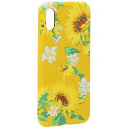 """Чехол-накладка силикон Luxo для iPhone XS/ X (5.8"""") 0.8мм с флуоресцентным рисунком Цветы Желтый"""