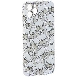 """Чехол-накладка силикон Luxo для iPhone 11 Pro Max (6.5"""") 0.8мм с флуоресцентным рисунком Бульдоги Белый"""