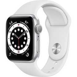 Apple Watch Series 6 GPS 40mm Silver Aluminum Case with White Sport Band (серебристый/белый) (MG283)