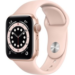 Apple Watch Series 6 GPS 40mm Gold Aluminum Case with Pink Sand Sport Band (золотистый/розовый песок) (MG123)