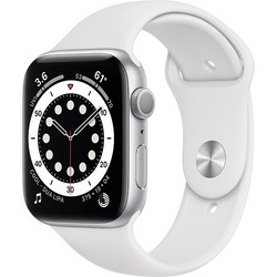 Apple Watch Series 6 GPS 44mm Silver Aluminum Case with White Sport Band (серебристый/белый) (M00D3)