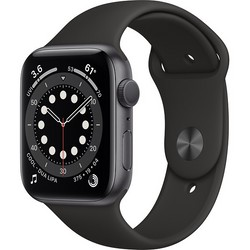 Apple Watch Series 6 GPS 44mm Space Gray Aluminum Case with Black Sport Band (серый космос/черный) (M00H3)