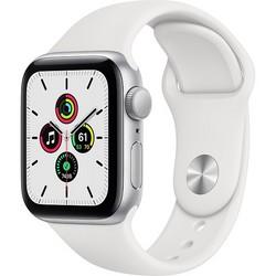 Apple Watch SE 40mm Silver Aluminum Case with White Sport Band (MYDM2RU)