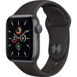 Apple Watch SE 40mm Space Gray Aluminum Case with Black Sport Band (MYDP2RU)