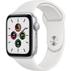 Apple Watch SE 44mm Silver Aluminum Case with White Sport Band (MYDQ2RU)