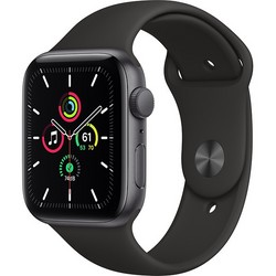 Apple Watch SE 44mm Space Gray Aluminum Case with Black Sport Band (MYDT2RU)