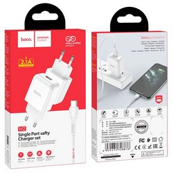 Адаптер питания Hoco N2 Vigour single port charger с кабелем Type-C (USB: 5V max 2.1A) Белый