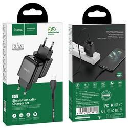 Адаптер питания Hoco N2 Vigour single port charger с кабелем Lightning (USB: 5V max 2.1A) Черный