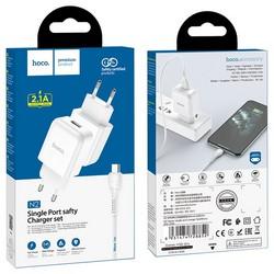 Адаптер питания Hoco N2 Vigour single port charger с кабелем MicroUSB (USB: 5V max 2.1A) Белый