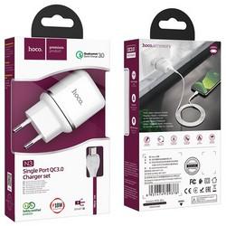Адаптер питания Hoco N3 Special single port QC3.0 charger с кабелем MicroUSB (USB: 3.6-6.5V 3.0A/6.6-9V 2.0A/ 18W) Белый