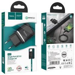 Адаптер питания Hoco N3 Special single port QC3.0 charger с кабелем Type-C (USB: 3.6-6.5V 3.0A/6.6-9V 2.0A/ 18W) Черный