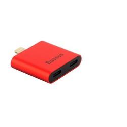 Аудио-переходник Baseus L39 IP To Double IP Socket Adapter 2-1 INTERFACE (2 порта Lightning) Красный