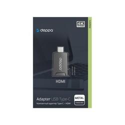 Переходник Deppa Type-C - HDMI 4K UltraHD для Macbook, Ipad Pro, Samsung Galaxy Tab S ( D-73130) Графитовый