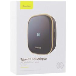 Переходник Baseus Type-C HUB Adapter AC Multifunctional Charger (USB3.0х2+HDMI+SD/TF+RG45) (CAHUB-AU01) Черный