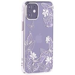 """Чехол-накладка KINGXBAR для iPhone 12/ 12 Pro (6.1"""") пластик со стразами Swarovski серебристый (Бабочки)"""