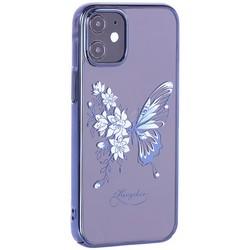 """Чехол-накладка KINGXBAR для iPhone 12/ 12 Pro (6.1"""") пластик со стразами Swarovski синий (Бабочка)"""