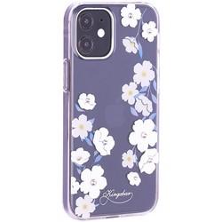 """Чехол-накладка KINGXBAR для iPhone 12/ 12 Pro (6.1"""") пластик со стразами Swarovski прозрачная с силиконовыми бортами (Цветы 1)"""