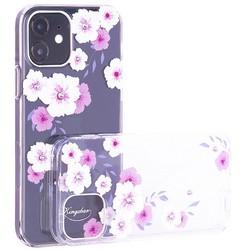 """Чехол-накладка KINGXBAR для iPhone 12/ 12 Pro (6.1"""") пластик со стразами Swarovski прозрачная с силиконовыми бортами (Цветы 2)"""