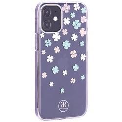 """Чехол-накладка KINGXBAR для iPhone 12/ 12 Pro (6.1"""") пластик со стразами Swarovski прозрачная с силиконовыми бортами (Цветы 3)"""