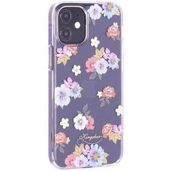 """Чехол-накладка KINGXBAR для iPhone 12/ 12 Pro (6.1"""") пластик со стразами Swarovski прозрачная с силиконовыми бортами (Цветы 5)"""