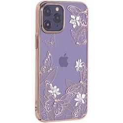 """Чехол-накладка KINGXBAR для iPhone 12 Pro Max (6.7"""") пластик со стразами Swarovski золотой (Бабочки)"""